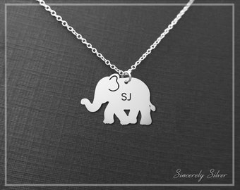 Elephant Pendant Necklace, Engraved Elephant Charm Necklace, Lucky Elephant Necklace, Small Elephant Necklace