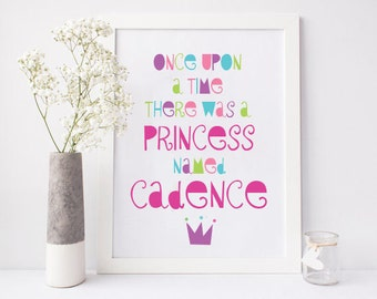 Personalized Nursery Print | Once Upon A Time There Was A Princess | Made to Order | Digital Download