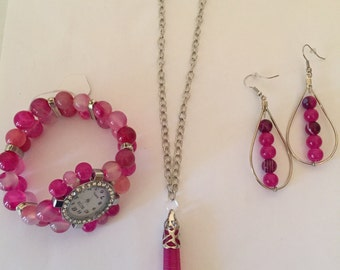Pink Agate Beaded Watch,Necklace,Earrings