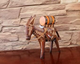 Vintage Wood Carved Donkey, Wooden Donkey Folk Art Pack Mule Donkey with barrel