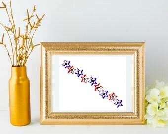 Printable July 4th Decor - Unique Holiday Wall Art - Red White and Blue - Patriotic Art Print - USA Home Decor - Instant Download