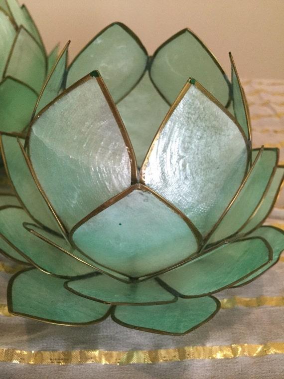 Items similar to full bloom lotus capiz shell candle holder tea lite on etsy - Capiz shell tealight holder ...
