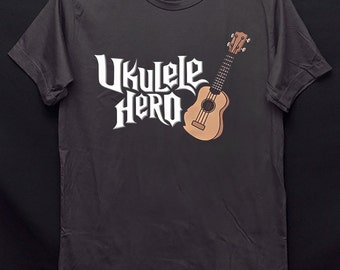 Ukulele Hero String instrument Hawaii Guitar White and Dark Gark Colors Crew Neck Unisex T-Shirt S-XXL