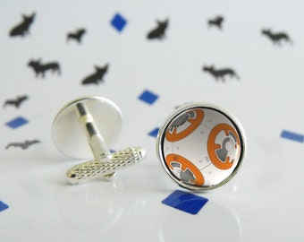 Big BB8 - Cufflinks with glass cabochon - Special wedding gift