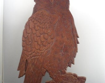 Owl carved out of wood wall hanging