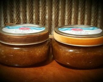 Brown Sugar Scrub / Spa in a Jar / Gentle Exfoliant and Moisturizer in 8oz Glass Jar