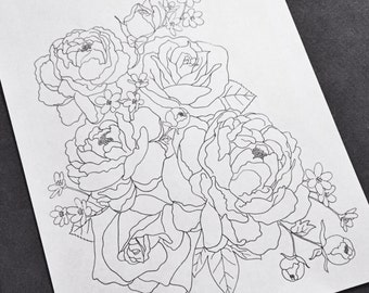 Peony and Rose Coloring Page