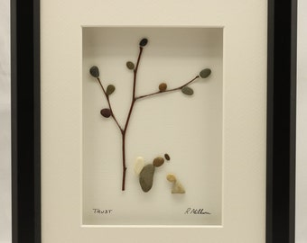 Pebble art picture, Angel, Baptism gift, Christening gift