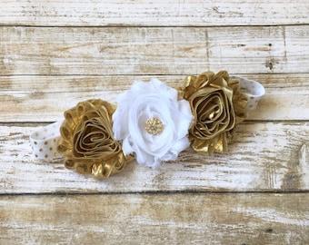 White & Gold Headband/Baby Headband/Gold Headband/Baby Headband/Baby Girl Headband/Toddler Headband/Newborn Headband/White and Gold/Headband