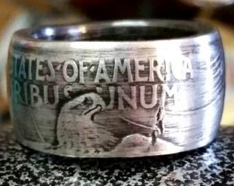 1922 Silver Peace Dollar Coin Ring