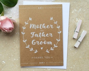 Rustic Mother & Father of the Groom Thank You Card