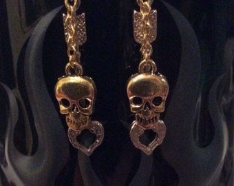 Gold Arrow and Skull Earrings