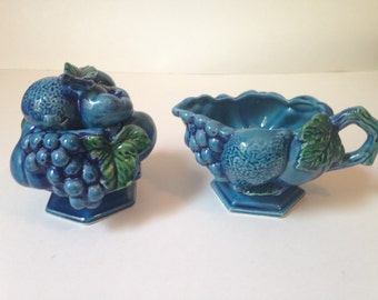 Inarco Mood Indigo Grapes Cream and Sugar Set