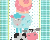 SALE!  Funny Farm Panel from the Funny Farm Collection by Diane Eichler for Studio E Fabrics