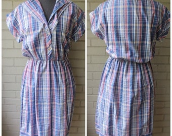 20% Off Entire Shop - Vintage 1970s Plaid Country Elastic Waist Dress - Size Small