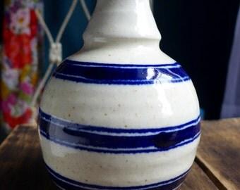 Blue & Cream Flower Vase // Ceramic Vase // Tall Vase // Thin Vase // Decorative Vase // Blue Pottery Vase // Vintage Vase // Blue Vase //