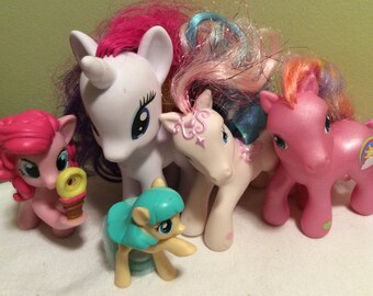 Vintage my little pony hasbro customizable set of five horses white and pink colorful with hair