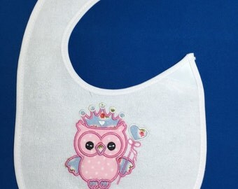Embroidered,baby bib,personalised, any name or message added,owl,baby shower,gift for baby,nursey,feeding
