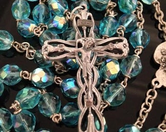 Vintage Rosary with Blue Aurora Borealis Stones