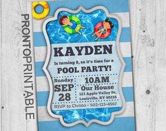 Pool Party Invitations | Swimming Party Invitations | Pool party invitations for boys | Pool party invitations for girls