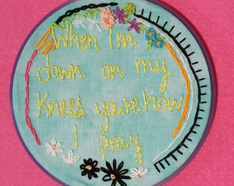"Religion 6"" Embroidery Hoop Art"