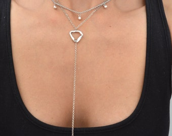 Lariat Y ARROWHEAD Necklace, Silver Arrowhead Y Shaped Necklace, Delicate Contemporary Jewelry, Boho Bohemian Gypsy Tribal Ethnic Jewelry