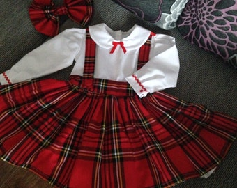 Girls Handmade Royal Stewart Tartan Pinafore Dress, 0 Months -5 Years