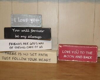 Wooden block sayings