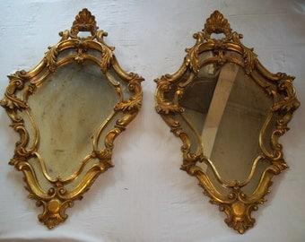 Coppia specchi in legno 1950 - foglia d'oro