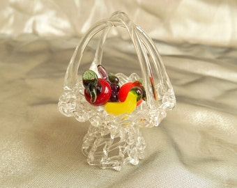 vintage lampwork glass fruit basket / Murano / decoration / 1980