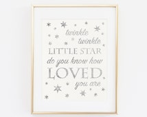 Twinkle twinkle little star do you know how loved you are, Baby Shower Sign, Baby Shower Decoration, Silver Glitter Baby Birthday Printable