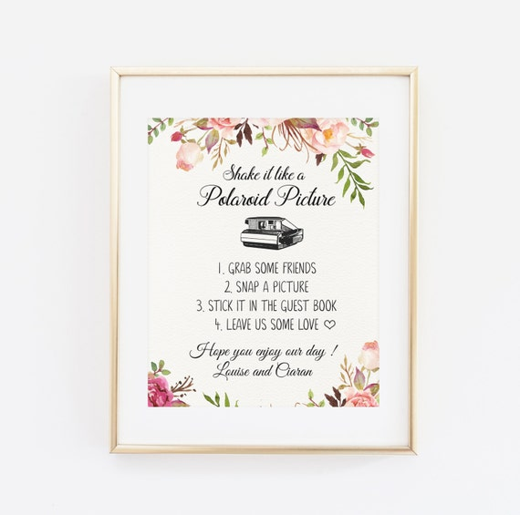Polaroid Guest Book: Polaroid Guest Book Sign Shake It Like A Polaroid By