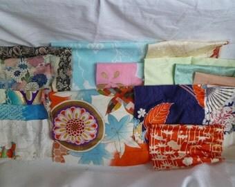 Assorted antique/vintage Kimono fabrics (small pieces) 100g - no.5