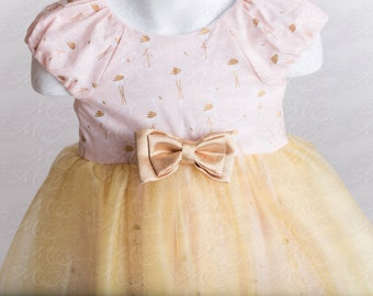Vintage Inspired cotton and tulle pink gold baby girls dress size NB-8