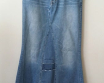 Women's Reconstructed Denim Maxi Skirt, Size 8
