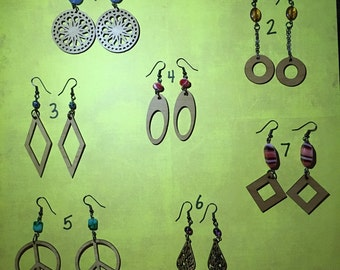 Laser cut wood earrings with beads
