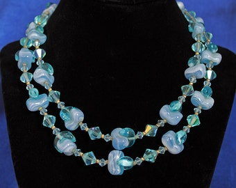 Vintage Blue Lace Agate and Crystal Double strand Necklace