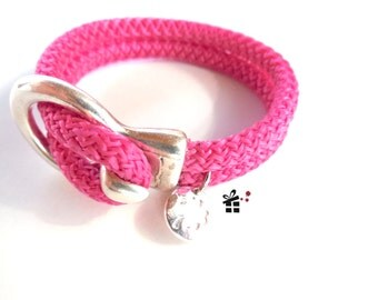 Sailing rope bracelet ~ double pink ~.