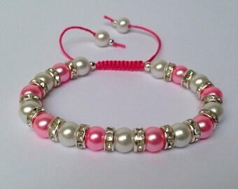 Pink & White Beaded Macrame Bracelet