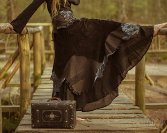"Leather skirt ""Nightingale"" black spiral (example photo)"