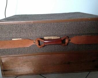 Vintage Hartmann Luggage Tweed Leather Suitcase