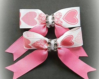 Pink and white side bow set