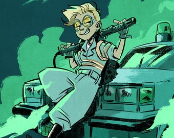New Ghostbusters Digital Art Print, Jillian Holtzmann print, Kate McKinnon portrait, Ecto-1 illustration, movie poster, geek wall art