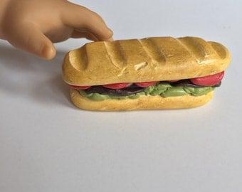 18in doll food- polymer clay roast beef sub sandwich