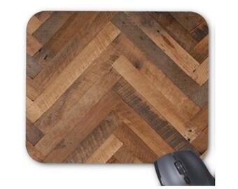 Reclaimed Wood Print Mouse Pad, Brown Tone Wood Chevron Mousepad