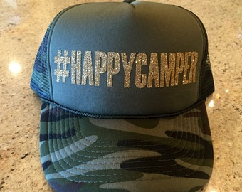 Hashtag Happy Camper Trucker Hat - Olive Green/Camo
