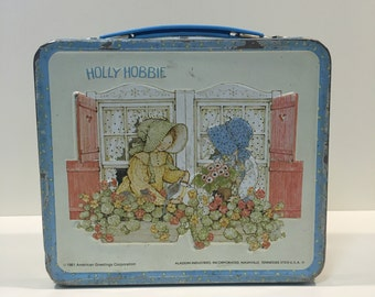 Vintage metal 1981 Holly Hobbie lunch box FREE SHIPPING