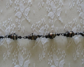 Wire Wrapped Bracelet Black Upcycled Beads