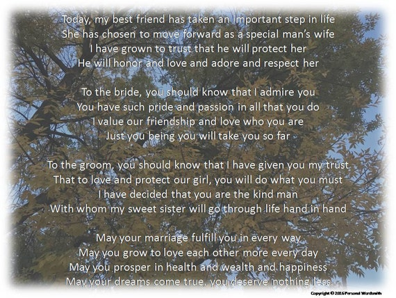 Maid Of Honor Toast Digital Print Downloadable Speech For