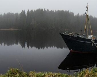 Karelia, Russia, boat, dawn, landscape